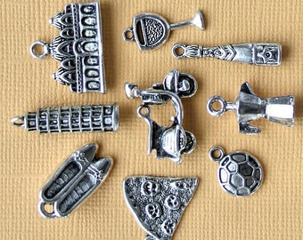 Italy Charm Collection Antique  Silver Tone The Ultimate 9 Different Charms - COL185
