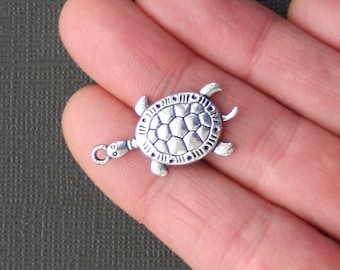 8 Turtle Charms Antique  Silver Tone Lovely Detailling - SC2109