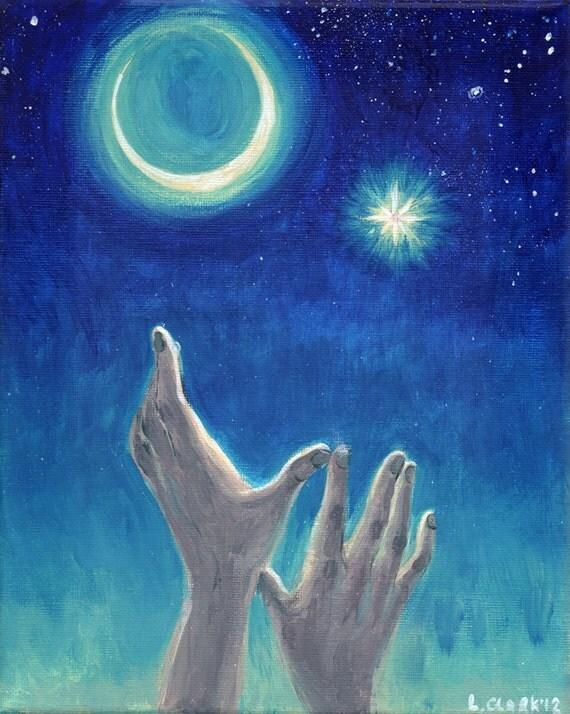 Original Painting Endeavor Reach for the stars Night sky