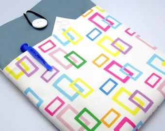 SALE - iPad mini retina sleeve, kindle, with a front pocket, padded - Colorful rectangles (K123)