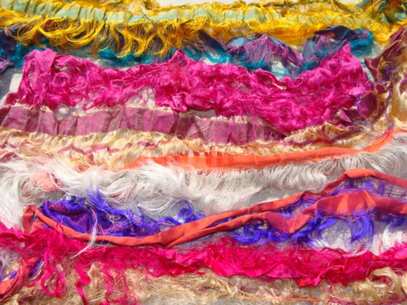 NEW Super Fancy And Fringy Wide Lightweight Sari Pieces 2 oz. Of Sari Ribbon 3/4 Inch To Over 2 Inches Plus Wide Spin Felt Fiber