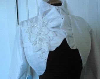 SAMPLE SALE Off-white Silk Ruffled Bolero with Crystal Applique Detail -OOAK
