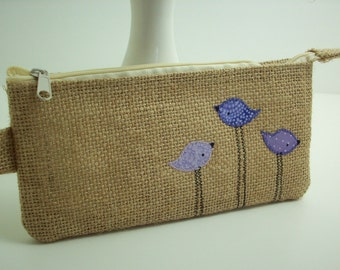 burlap pencil pouch, zipper pouch, cosmetic bag with purple birds, makeup bag