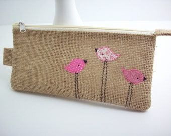 Zipper pouch burlap cosmetic bag with pink birds, makeup bag, travel puch, pencil pouch