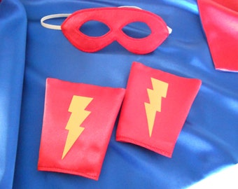 SUPERHERO CUFFS and MASK  set to match our capes ,super hero cape accessories,boys girls adult baby toddler