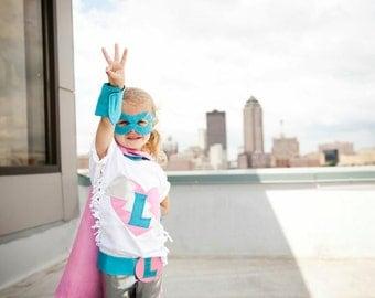 Deluxe Superhero Cape set personalized princess Cape Mask Cuffs and Belt set princess Halloween aqua pink red blue purple