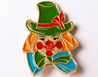 Vintage metal pin, Circus clown, Badge, from USSR