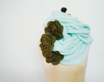 Cable Loop Scarf Knitting Pattern, Knit Cowl Pattern, Crochet Flowers Pattern, 218-A