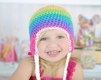 Rainbow Hat, Newborn to Womens hat, photography prop, winter hat, fall hat, crochet hat. Earflap hat, hat with braids