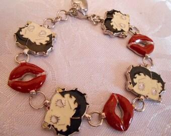 "Vintage bracelet, ""Betty Boop"" charm bracelet, signed ""KFS/FS"" bracelet, cartoon memorabilia bracelet"