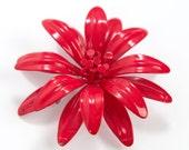 Vintage 60s Red Flower Brooch