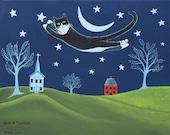 Flying Tuxedo Cat over Folk art Landscape and Crescent Moon Whimsical Folk Art Print