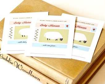 Sheep Personalized Bookplates, Baby Shower Bookplate // ON THE FARM