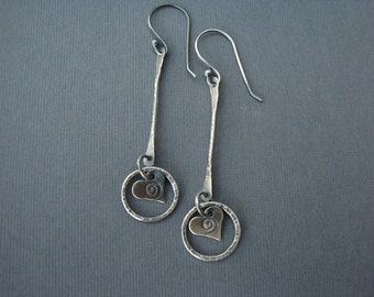 Circled Heart Sterling Silver Earrings