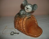 Vintage Goebel Mouse On A Slipper Bank With Key Made In Germany