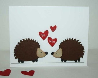 Valentine Card - Hedgeghog themed Valentine's day card / greeting card