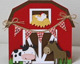 Farm Birthday Invitations / Red Barn invitations / Cow / Horse / Set of 12