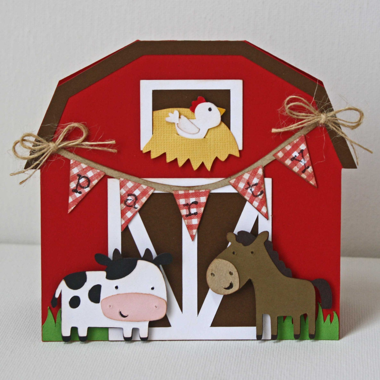 Farm Birthday Invitations Red Barn invitations Cow Horse