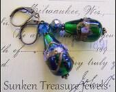 Lampwork Emerald Green Glass Dangle Earrings