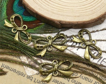 20pcs of antique brass charming Butterfly Knot pendant,metal finding 13x23mm