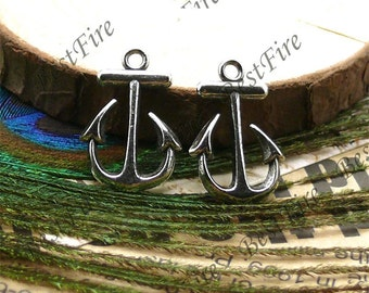 10PCS 15x23MM Antique silver  Perfect  Anchor Charm Pendant Earrings falling beads