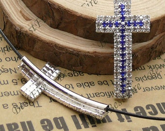 2pcs of 24x54mm silver tone Sideways Cross blue and white Rhinestone Connector,Cross Bracelet Connector,bangle findings