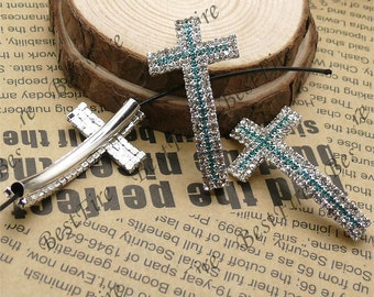 2pcs of 24x46mm silver tone Sideways Cross two color Rhinestone Connector,Cross Bracelet Connector,bangle findings