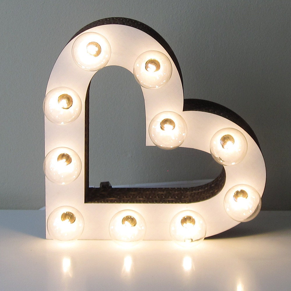Heart Marquee Light Sign Vintage Inspired Laser Cut White