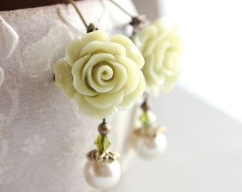 Light Green Rose Earrings Flower Dangle Ivory Cream Pearl Drop Floral Jewelry Leverback Spring Garden Wedding Nickel Free Bridesmaids Gift