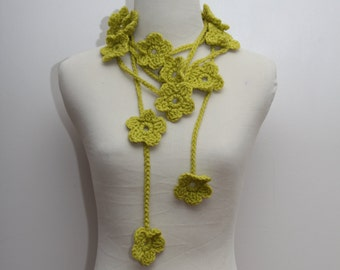 Crocheted Flower Scarf in Lime Green