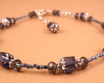 Ankle Bracelet Crystal Anklet Blue Crystal Anklet Crystal  Jewelry Beaded Jewelry Beaded Ankle Bracelet