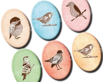 Woodlandt Birds 18x25 mm small ovals. Printable images. Digital collage sheet for cabochons, pendants, jewelry, cameos. Download and print.