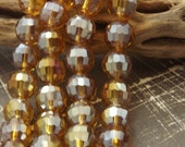 CLOSEOUT SALE/8mm Multi faceted Glass Metallic Amber Disco Ball 10 Qty