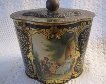 Vintage 1950s Western Germany Tin with Knob Navy Blue Romantic Collectible