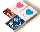 100 hearts in a matchbox - love keepsake gift - aniversary or valintine's - personalize - choose your colors