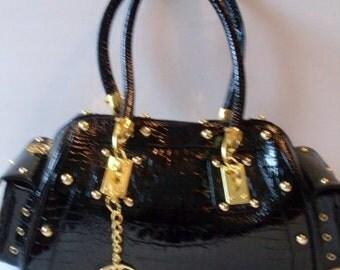 Sassy Black 90s Boston Bag Black Patent Leather  LJO Collectible Bags Purses