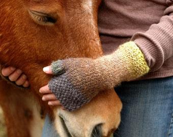 Women's rustic fingerless mittens  -  earth tones