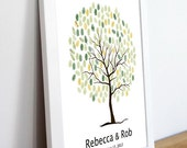 Wedding Tree Guest Book Print--  To Be Personalized With Guest's Fingerprints - 17x22-With 2 ink pads and instructions