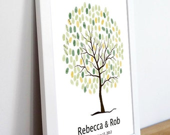 Wedding Tree Guest Book Print--  To Be Personalized With Guest's Fingerprints - 17x22-With 1 ink pads and instructions