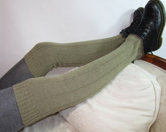 Distressed Thigh High Leg Warmers Cotton Knit Taupe Brown Boot Socks A1073