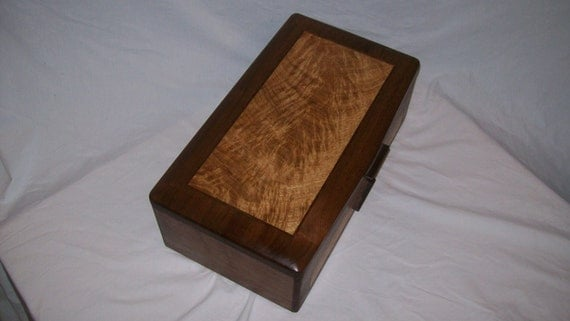 Inlay Wood Jewelry Box-Walnut and White Oak Burl- The Elite Collection Handmade