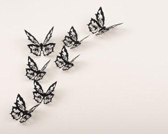 3D Wall Art Wall Butterflies, Ornate Gothic Decor, 10 Darkwing Filigree Butterflies in Soot Black Paper