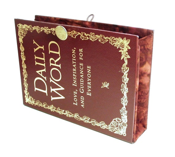 Book Clutch made from Daily Word Book in Burgundy Red - Love, Inspiration and Guidance