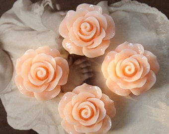 4pcs Wholesale Beautiful Colorful Rose Flower Resin Cabochon  --20mm(CAB-BS-50)