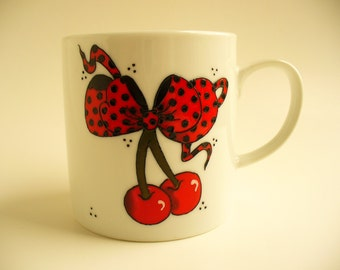 ON SALE Hand painted Cup: Rockabilly cherries with red and black dots Minie's bow