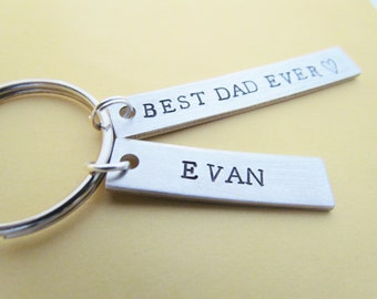 Key Chain Best Dad Ever Plus 1 Name Tag Charm Hand Stamped Aluminum Metal Dads Key Ring Kids Name