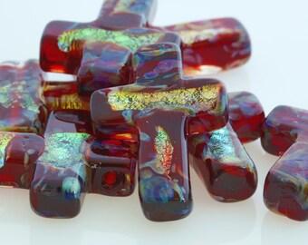 Cross Pendent, Red Murano Glass, 1 pendant, 30 X 20 mm