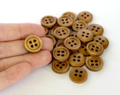 Round Wooden Buttons. Medium brown. 50 pcs. 15mm 0.59 inch. 4 holes.