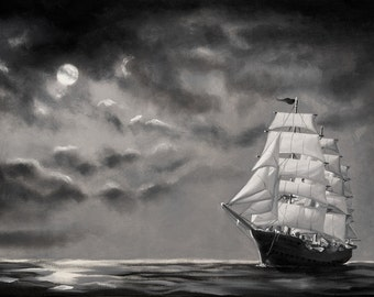 Clipper Ship moonlight seascape 24x36 oils on canvas painting by RUSTY RUST / M-253