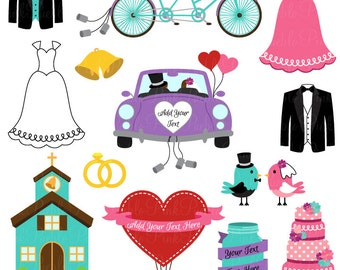 Wedding and Bridal Clipart Clip Art Vectors, Great for Invitations - Commercial and Personal Use